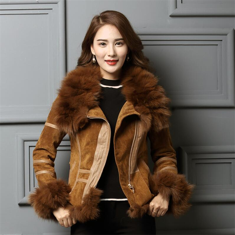 IANLAN Casual Winter Womens Real Fur Coats with Waistband Real Leather Jacket with Silver Fox Fur Collar & Cuff Trimming IL00005