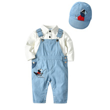 VTOM  Baby Fashion Sets Kids Suit Boys Clothes Long-sleeved Tops+ Suspenders Pants+Hat 3PCS XN71