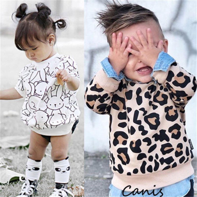 Children Baby Boys Girls Rabbit Printed Leopard Top T-Shirt Sweatshirts Hot New Baby Girl Boy Clothes Leopard Print Rabbit Top girl