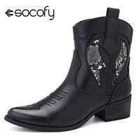 Socofy Fashion Cowgirl Boots Women Shoes Winter Western Cowboy Ankle Boots Pointed Toe Splicing Sequined PU Leather Shoes Woman