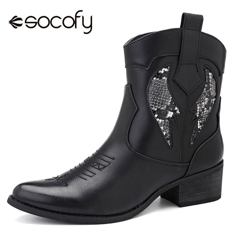 Socofy mode Cowgirl bottes femmes chaussures hiver Western Cowboy bottines bout pointu épissage paillettes PU cuir chaussures femme