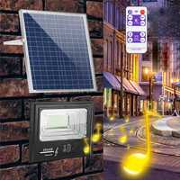 CLAITE Solar Powered 192 Music Flood Light with Remote Control Dimmable Wall Lamp for Garden Wall Outdoor