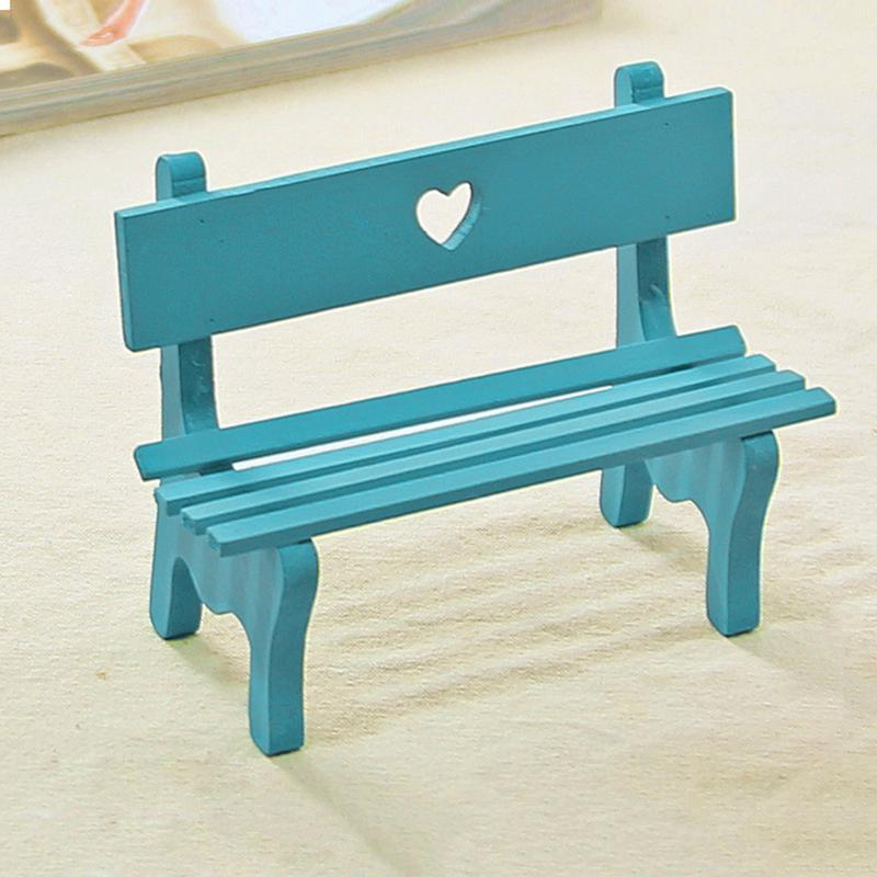 Simulated Mini Wood Hollow Love Park Chair Bench Baby Doll Toy Accessories