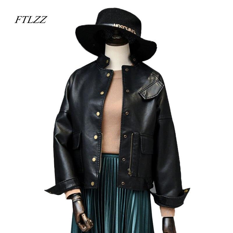 Ftlzz 2019 Spring Autumn   Leather   Jacket Women Casual Long Sleeve Button Slim Coat Fashion Pu   Leather   Bomber Jacket Outerwear