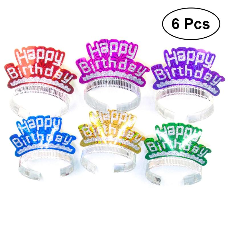 6Pcs Glitter Hot Stamping Crown Happy Birthday Party Toys Caps Party Gift Decorations Party Supplies For Children Cartoon Hats