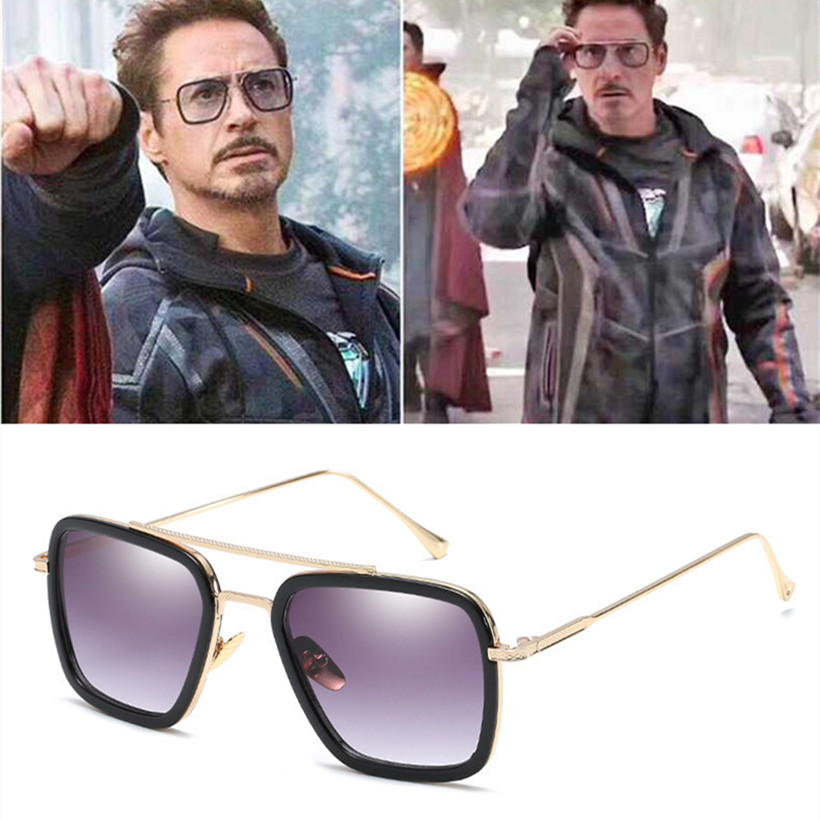 YOOSKE Men Steampunk Goggles Sunglasses Tony Stark Iron Man Sunglass R