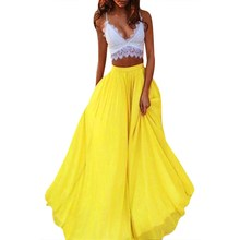 Fashion Spring Summer Chiffon Skirts Womens Solid Color Beach Casual Long Women Elegant
