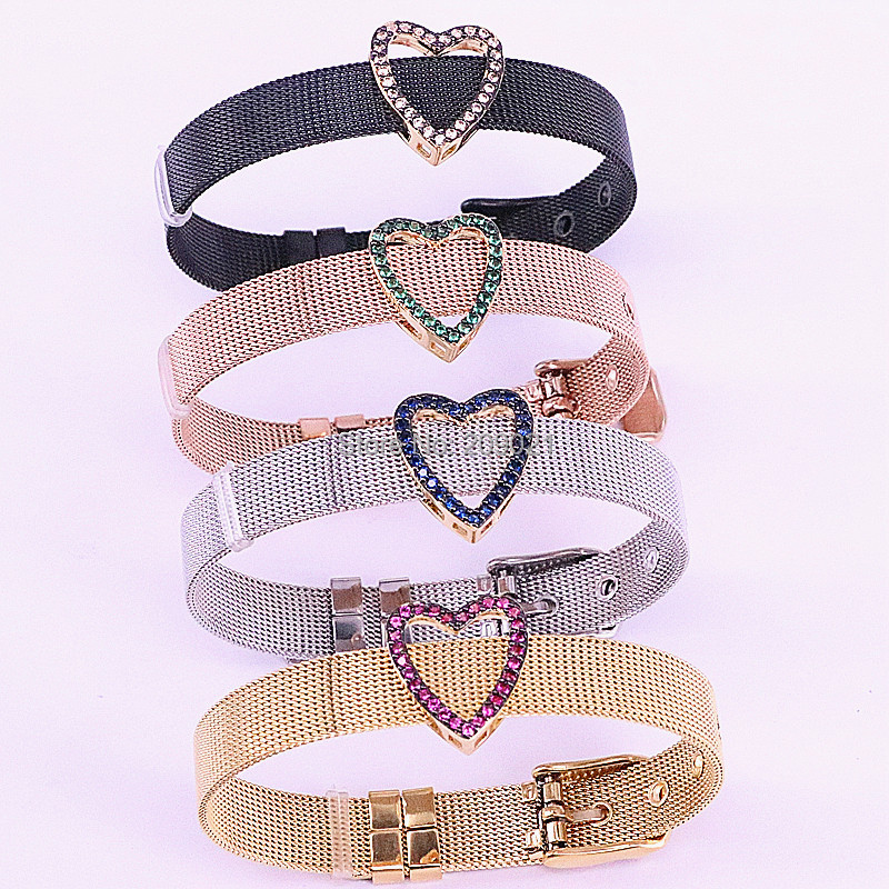 5Pcs Micro Pave Cubic Zirconia Heart Spacer Gold Charm Jewelry Connector Stainless steel watch belt bangle