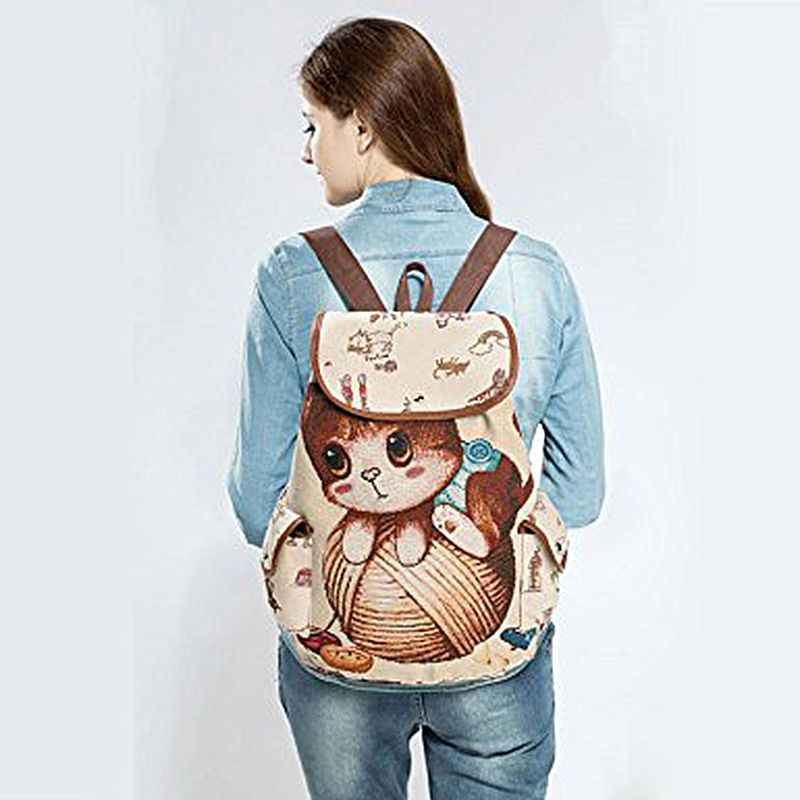 Women Canvas Backpack Cartoon Cat Pattern School Bag Pockets Casual Vintage Bag Travel Drawstring backpack 2#Women Canvas Backpack Cartoon Cat Pattern School Bag Pockets Casual Vintage Bag Travel Drawstring backpack 2#