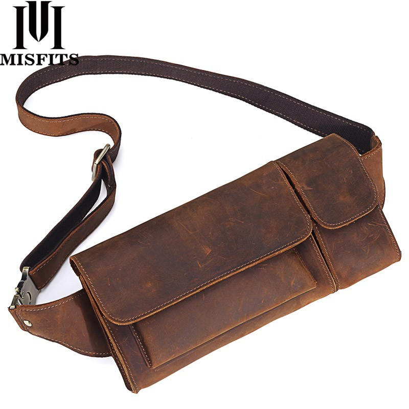 2019 New Vintage Genuine Leather Men Waist Pack Casual Multi functions Fanny Pack Belt Bag Male Travel Phone Pouch Shoulder Bag