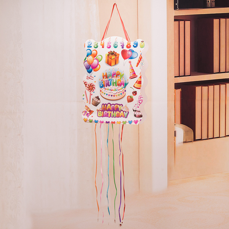 40cm x 29cm Hanging Happy Birthday Pinata Party Toy Kids Gifts Favors Accessories Decorations