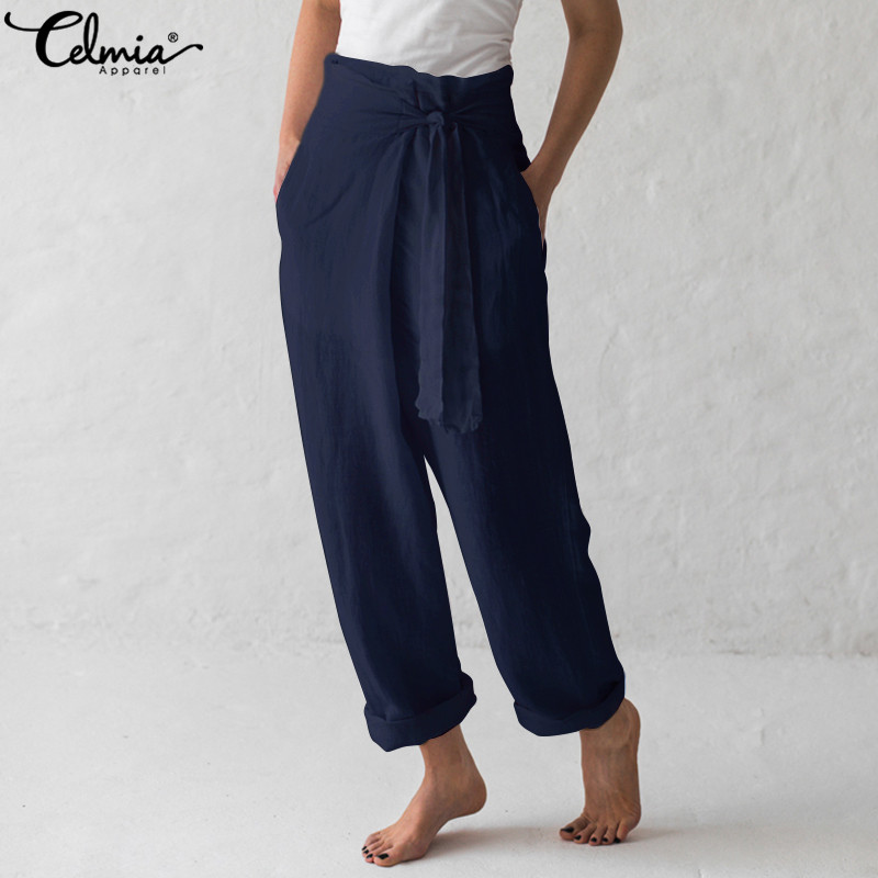 Celmia Plus Size Vintage Linen   Wide     Leg     Pants   2019 Summer Women High Waist Trousers Lace Up Casual Pantalon Palazzo Femme 5XL