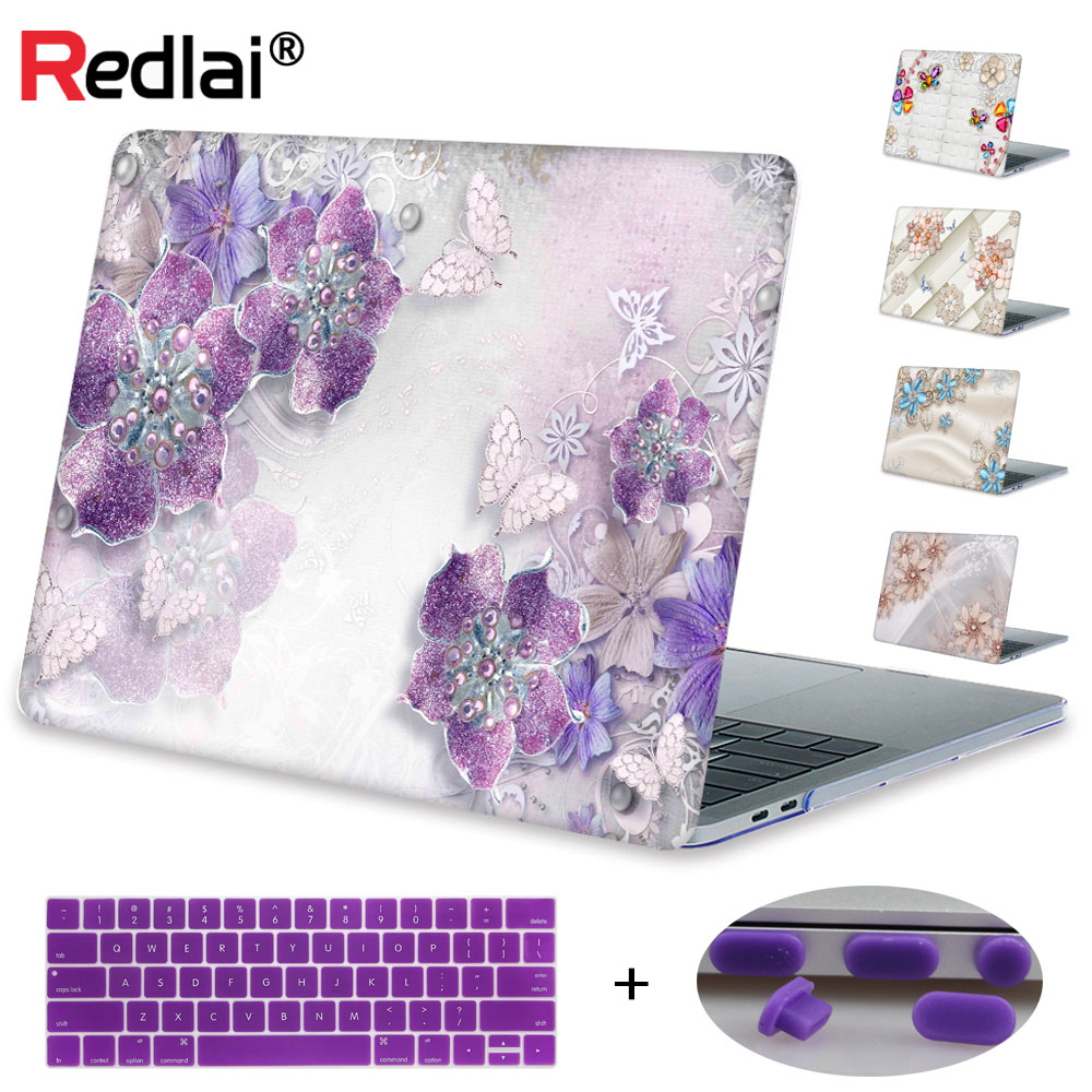 Redlai Laptop Case For MacBook 12 inch Air 11 13 New Pro 13 15 with Touch bar Gem Flower Hard Case For Mac Pro Retina 13.3 15.4 hat prince protective hard case for macbook pro 15 4 inch with retina display