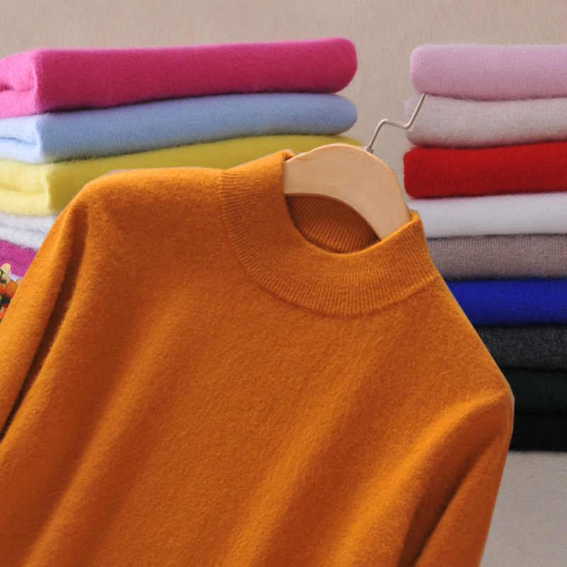 Autumn Female Mock-Neck Sweater Bottoming Shirt Female Pullover Solid Color Jumpers Thick Sweater Wholesale