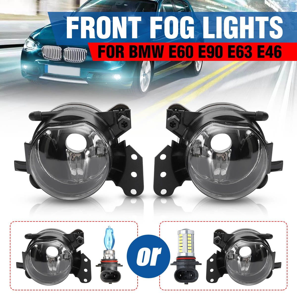 Pair Car Front Fog Lights Lamps Housing Lens Clear For Bmw