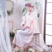 Vintage Women Nightgown Sleepwear Spring Flare Sleeve Long Sleep Shirts Lace Hollow Out Night Wear Sleep Dress lace sleeve bear print sleep dress