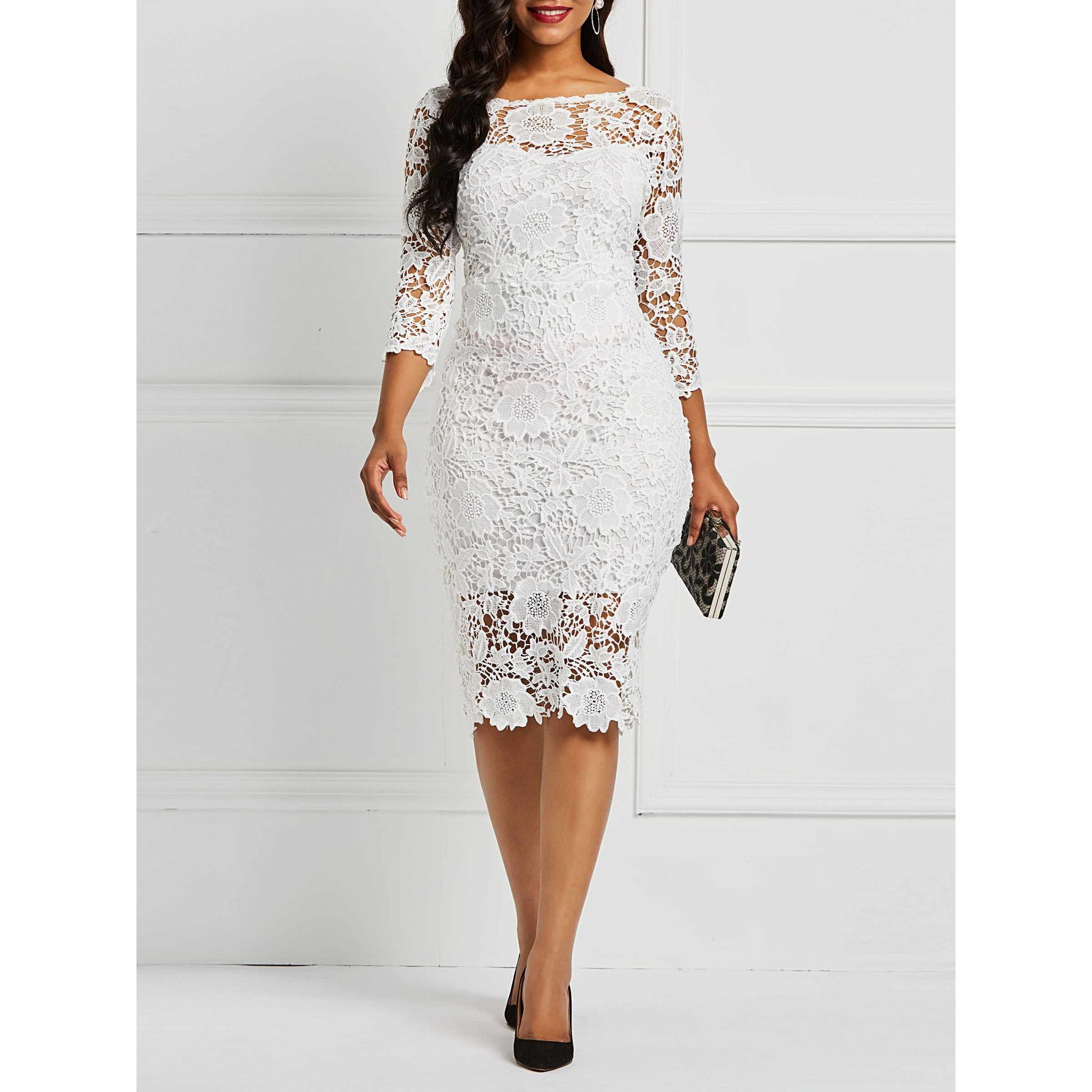 Party Chic Detail Feedback Questions About Women Midi Dresses Elegant White