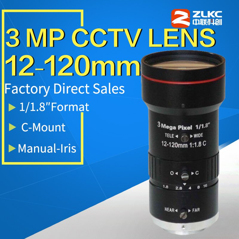 3 0Megapixel 12 120mm HD CCTV lens manual Iris Varifocal C mount lens for ip cameras
