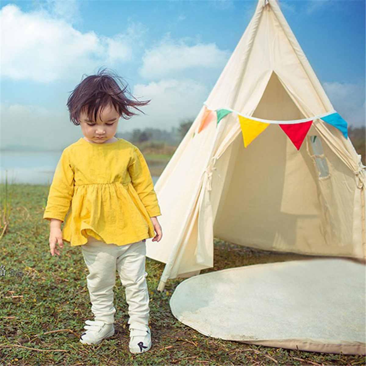 Bébé Photo accessoires château Triangle enfants pliant tente cadeau enfants Playhouse dormir dôme enfants jouer jouets tipi tente tissu