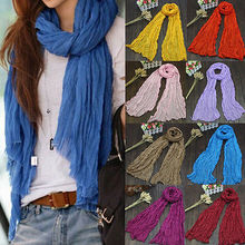 Hot New 1PC Ladies Long Voile Linen Thin Warm Winter Candy Color Shawl Women Scarf