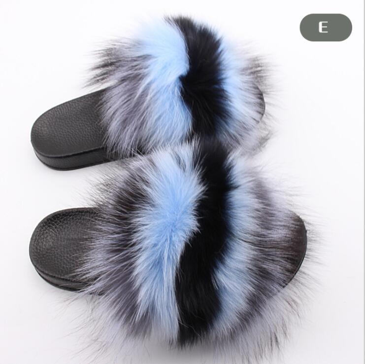 Summer Women Fox Fur Slippers Flip Flops Flat Heel Shoes Fur Fuzzy Slippers Furry Fluffy Plain Slides Feathers Superstar L
