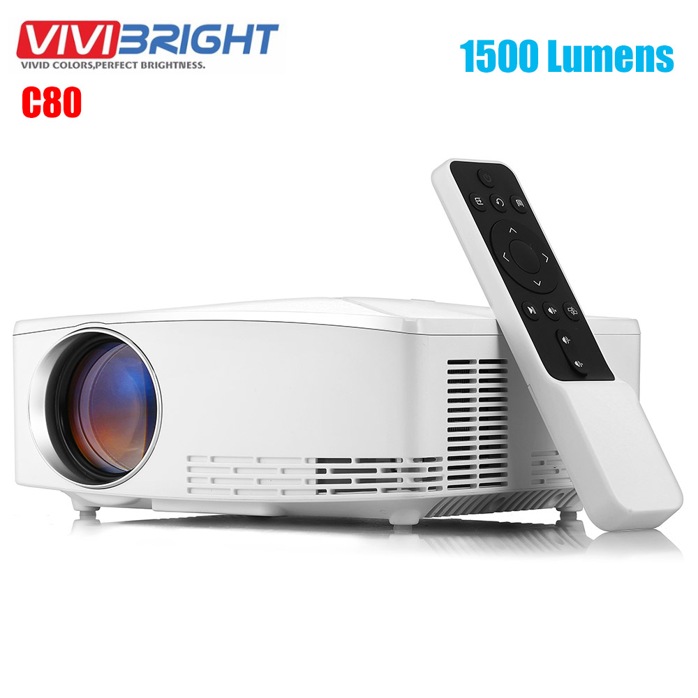 VIVIBRIGHT C80 LCD Home Theater Projector <font><b>1500</b></font> <font><b>Lumens</b></font> Support 1080P HDMI VGA USB for Laptop Office image