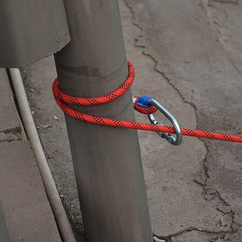 Corde d'escalade professionnelle de 20m x 10mm avec 2 crochets corde de sauvetage extérieure corde de sécurité randonnée rayé boucle survie - 6