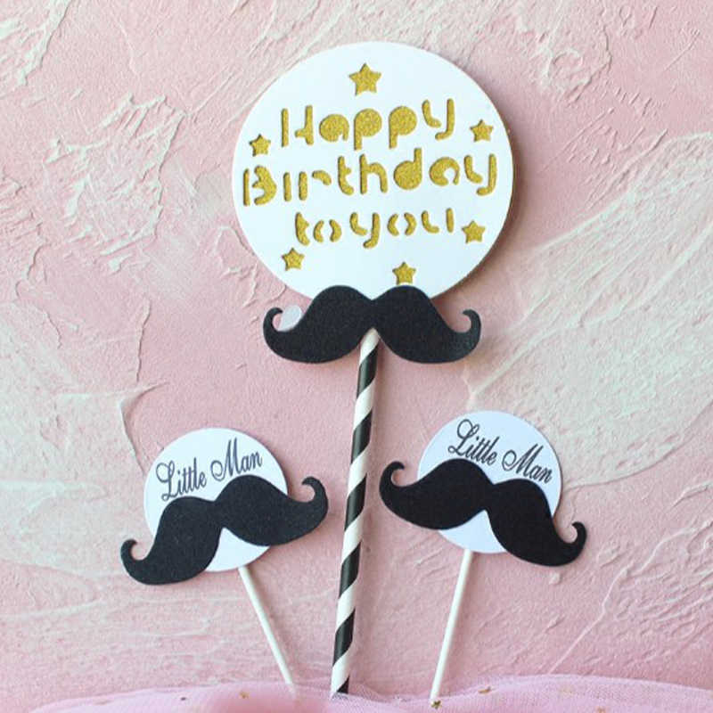 Stupendous 1 Pack Cute Black White Boy Little Man Mustache Happy Birthday Funny Birthday Cards Online Fluifree Goldxyz