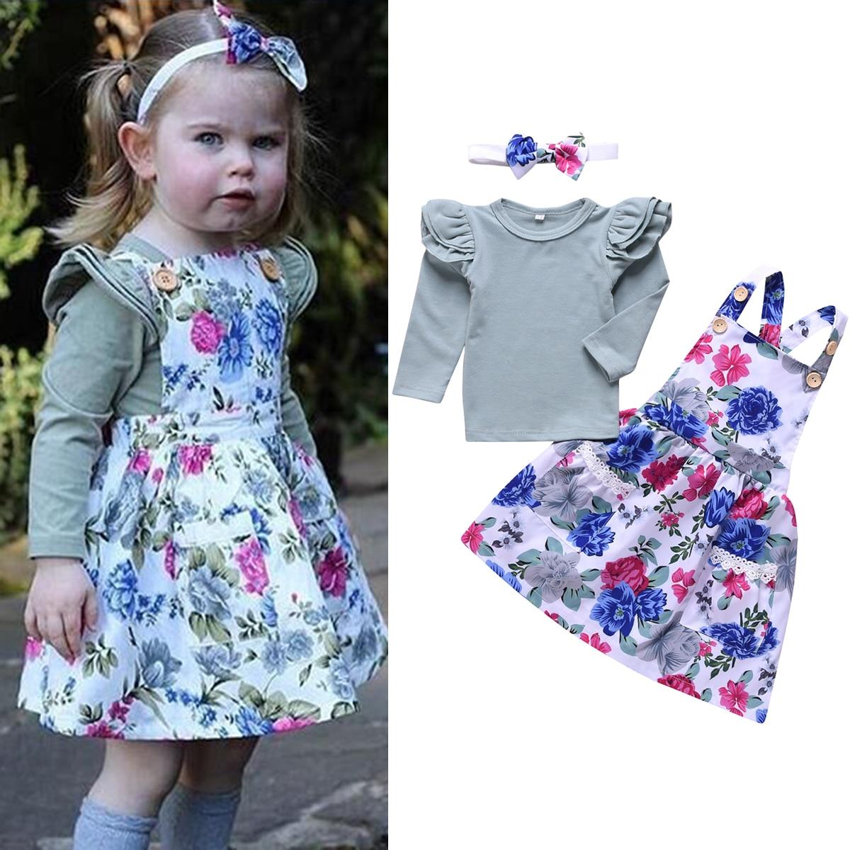 Baby Toddler Girl Casual Outfit Set Long Sleeve Ruffles Top Suspender Skirt Bowknot Headband 3pcs/set Summer Dress For Girl
