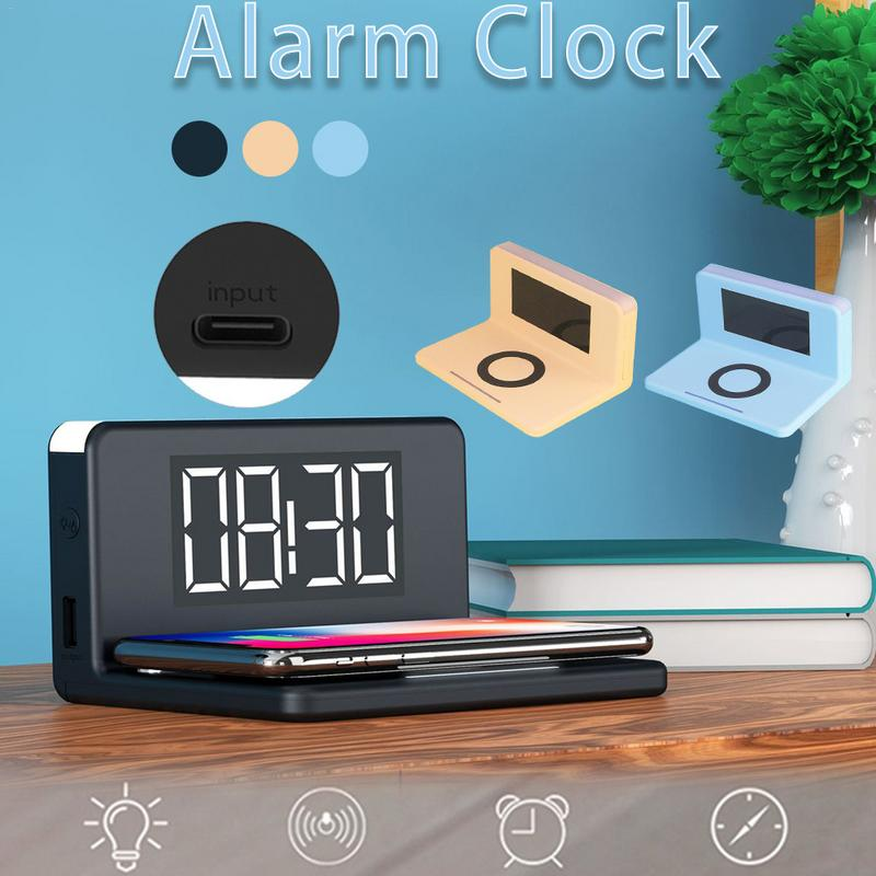 New Hot Electric LED Alarm Clock Phone Wireless Charger