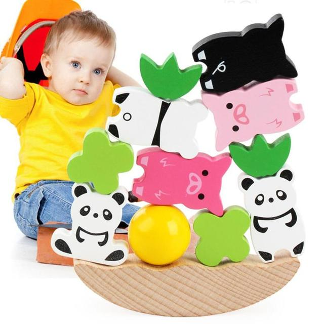 Moon Balancing Frame Baby Early Learning Toy Colorful Animal Development Wood Blocks Montessori Teaching Aids Toys