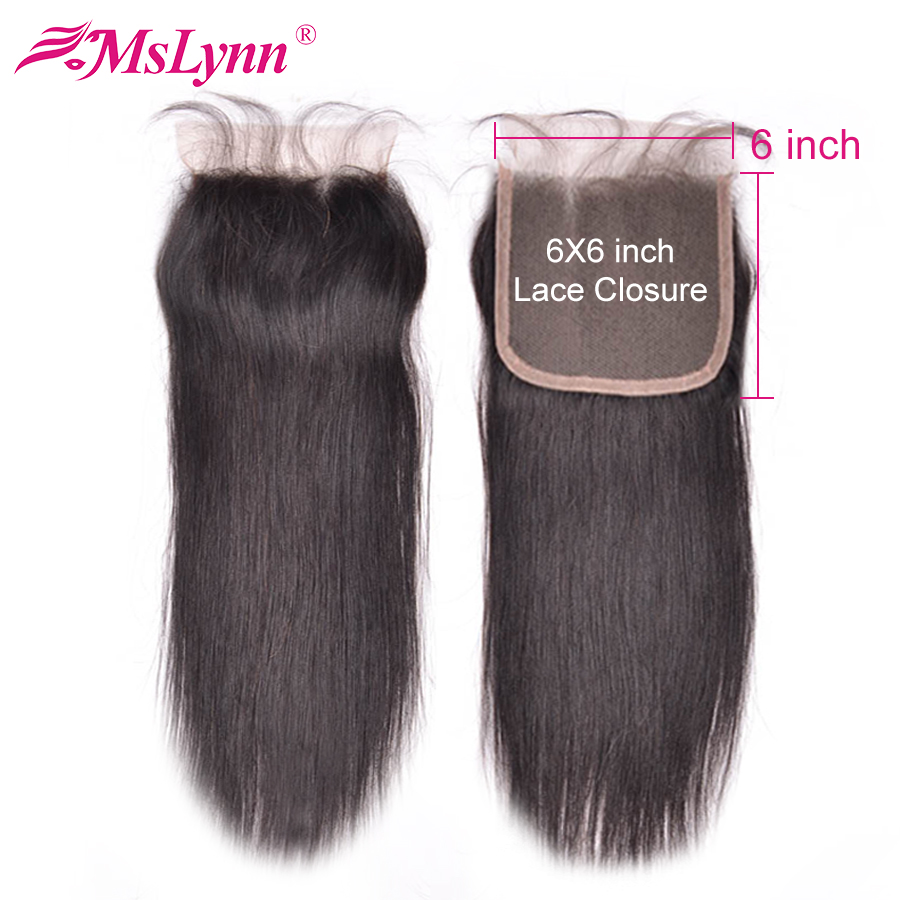 6x6 Closure Brazilian Straight Hair Swiss Lace Human Hair Closure Pre Plucked With Baby Hair 8