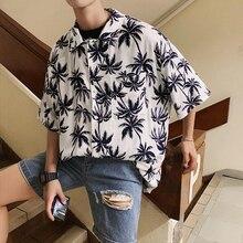 Summer New Shirt Men Fashion Leaf Printing Trend Wild Casual Shirt Man Streetwear Comfort Loose Hawaiian Shirt Male Clothes hollowed leaf printed hawaiian shirt
