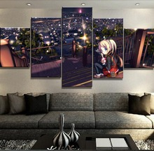 Framework 5 Piece Canvas Art Girl Anime Modern Decorative Paintings on Wall for Home Decorations Decor Picture