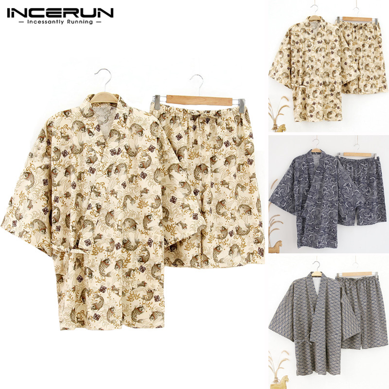 Sleepwear Suits Couple Kimono Pajama Lounge Men Casual Summer Floral Unisex Vacation-Set