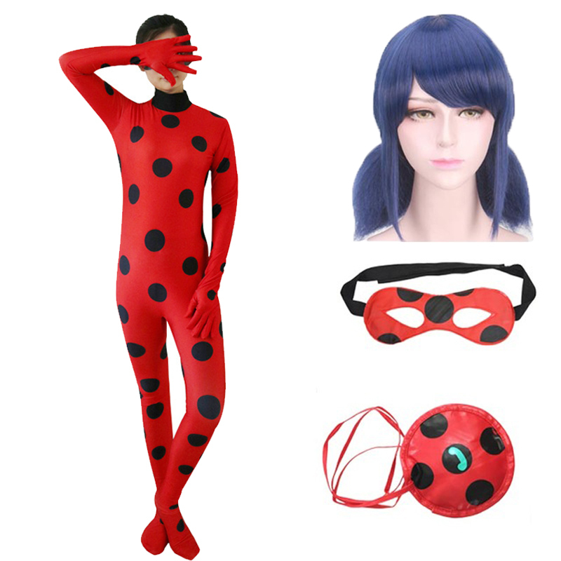 Lady bug Cosplay Costume for Adult Kids Fantasia Halloween Party Full Set Costume Ladybug Spandex Marinette Zentai Suit