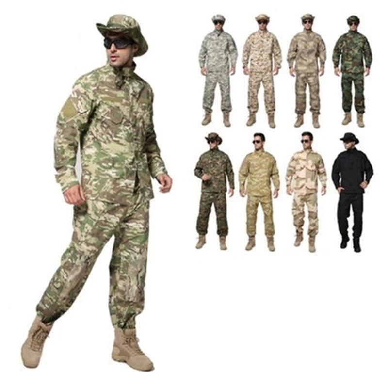Armia taktyczna wojskowa koszula mundur + spodnie Camo kamuflaż ACU CP umundurowanie bojowe US Army męska odzież garnitur Airsoft polowanie w Myśliwskie stroje maskujące od Sport i rozrywka na title=