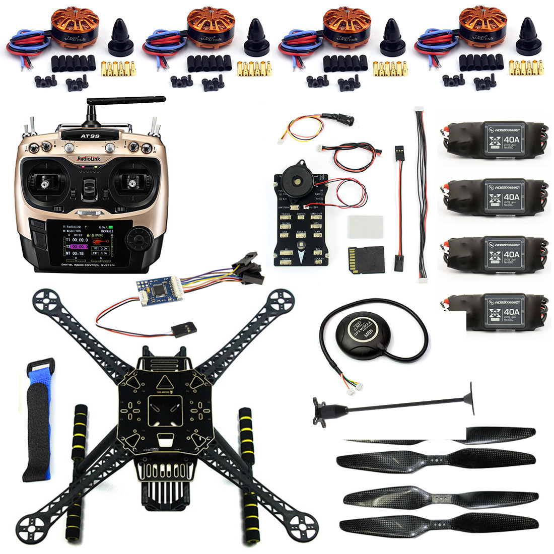 F19457-B DIY FPV Drone Kit S600 Quadcopter Frame 40A ESC with 700KV Motor Pix Flight Control AT9S Transimitter GPS XT60 Plug