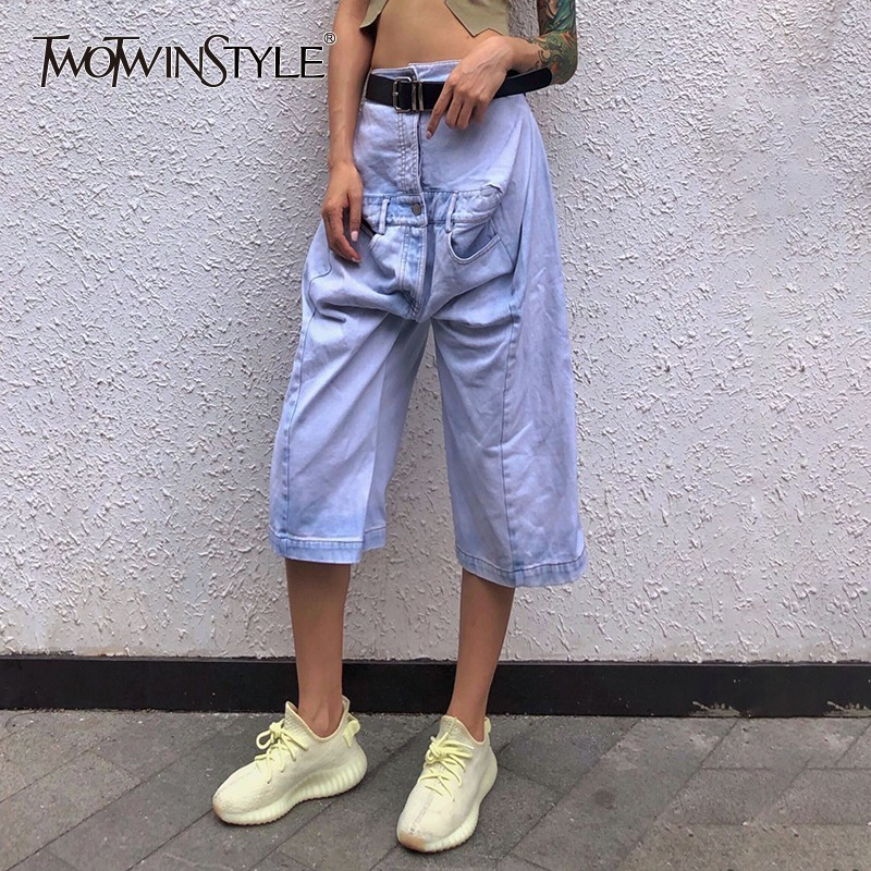 TWOTWINSTYLE Summer Casual Jeans For Women High Waist Big Size Knee Length Denim Cross-Pants Female 2019 Fashion Clothes