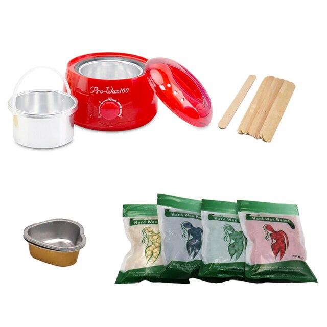 Sıcak Erime Wax Isıtıcı Epilasyon Ağda Makinesi Seti 4 Paket Fasulye 10 Kazıma mum çubuklar 4 Kalp Şekilli balmumu Yay