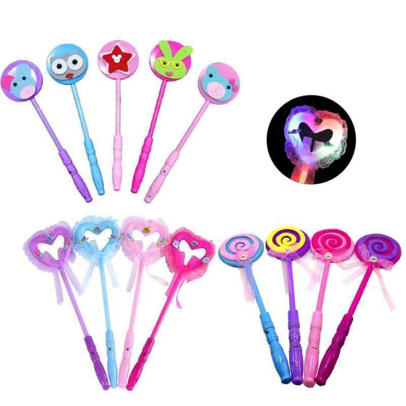 Sugar Heart Shape Glow Sticks LED Light Up Toys Kid Children Adults Lolly Magic Flashing Sticks Toy Colorful Xmas Party Gift New