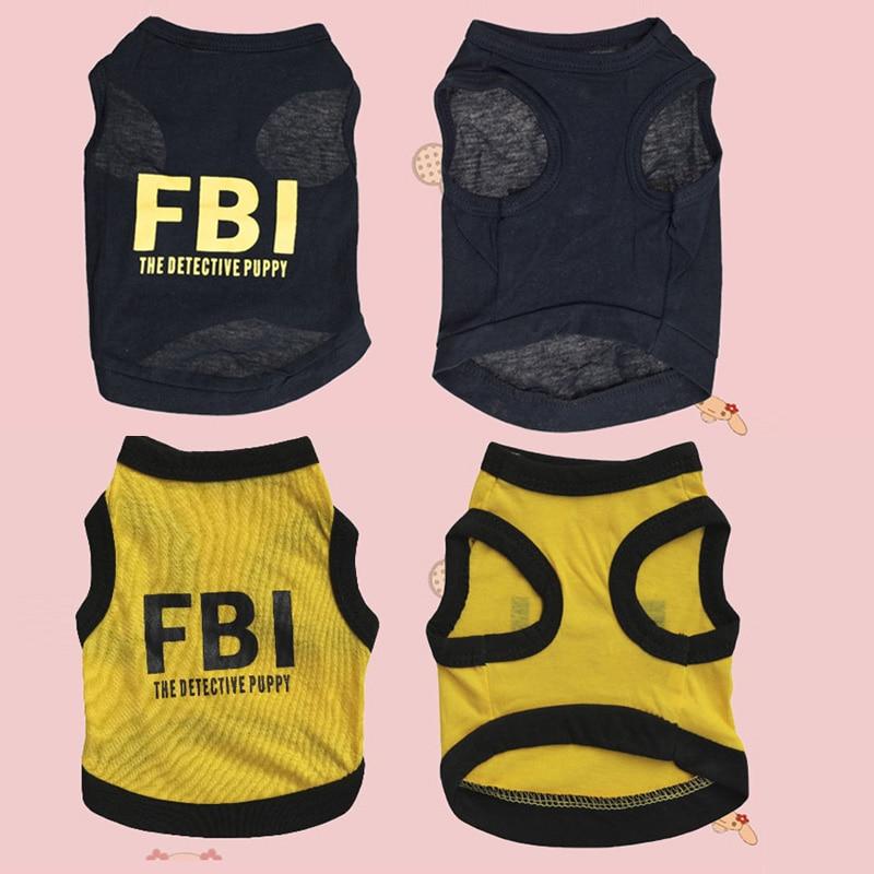 Dog Dress Up Pet Supplies Teddy Clothes FBI Letters Print Spring Summer T-Shirt Pet Vest 1