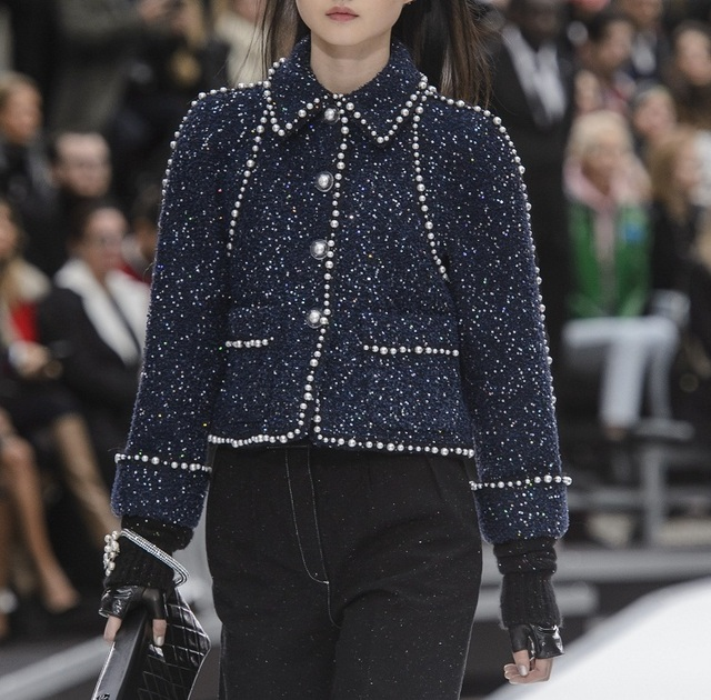 Tweed Pearl Jacket Coat Women 2018 Autumn Christmas Fashion Loose Cropped Top Lapel Chic Beading Blue Woolen Runway Jacket