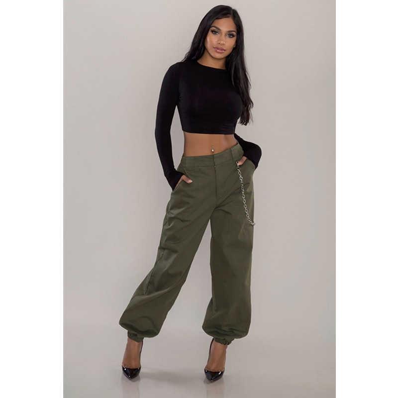 Pantalones Cargo De Cintura Alta Para Mujer Moda Femenina Sudadera Con Bolsillos Pantalones Bombachos Casuales Pantalones Verde Militar Para Mujer Sin Cadena Pantalones Y Pantalones Capri Aliexpress