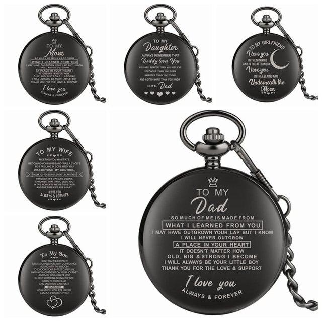 Top Uniqu Presentes Da Família Personalizado Saudação Palavras EU TE AMO Tema Quartz Cadeia Pocket Watch Presentes Da Lembrança para O Pai A Mãe filho n ° 2019