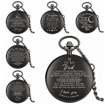 e34fe5f43 Top Uniqu regalos de familia personalizado palabras de felicitación amor  Tema de cuarzo de bolsillo reloj de cadena recuerdo regalos para papá mamá  hijo ...