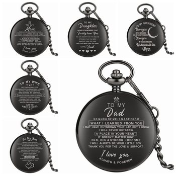 Top Unique Family Gifts Customized Greeting Words I LOVE YOU Theme Quartz Pocket Chain Watch Souvenir for Dad Mom Son 2020 - discount item  10% OFF Pocket & Fob Watches