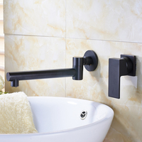 Fashion Oil Rubbed Bronze 2 Hole One Handle Wall Mounted Bathroom Water Sink Faucet Single lever Swive Spout Mixer Taps