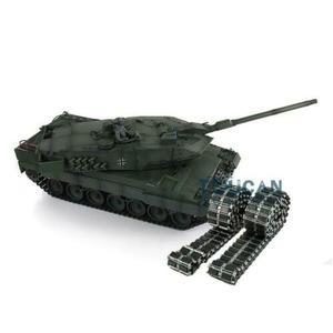 Image 3 - Henglong 1/16 зеленый 6,0 версия инфракрасный боевой Leopard2A6 RC Танк 3889 отдача ствола металлический трек Резина TH12771