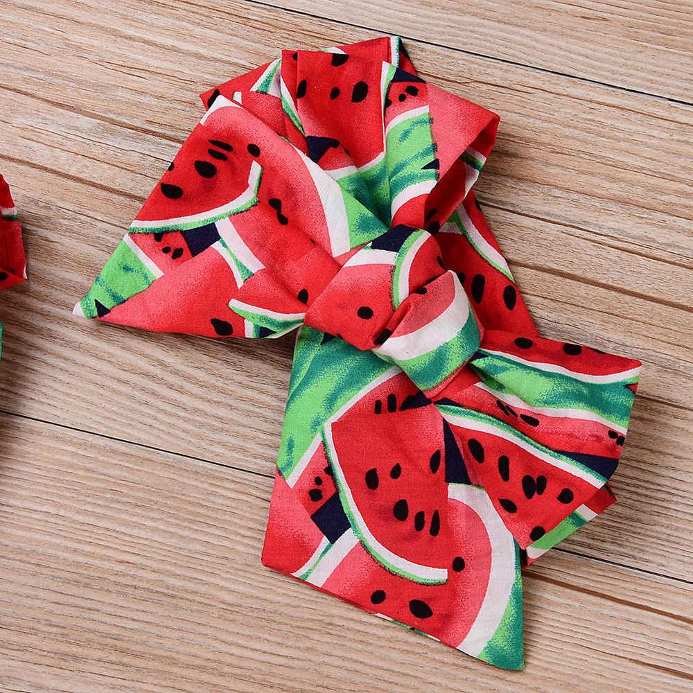 Peuter Infant Leuke Pasgeboren Baby Meisjes Kleding Watermeloen Bodysuit + Hoofdband Sunsuit Set